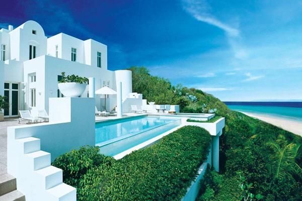 luxus ferienhaus in karibik blaues wasser